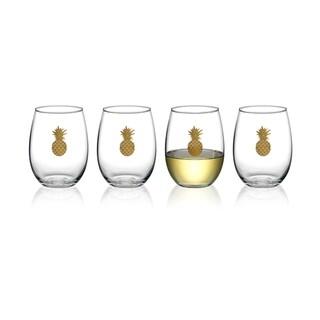 Luminarc Aloha Gold Pineapple 17 Ounce Stemless Wine Glass, Set of 4