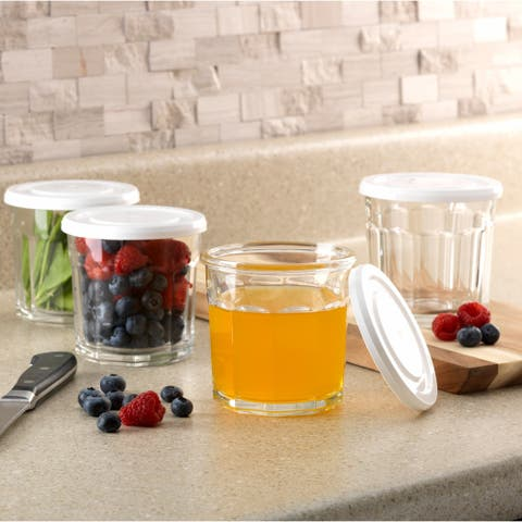 Luminarc 14 Ounce Working Glass Storage Jar/Cooler Glass with Lids, Set of 4