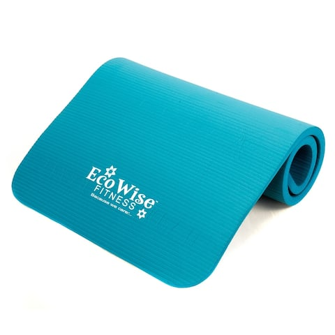 """EcoWise Deluxe Workout/Pilates Mat, Extra Thick, Portable, Olive Color, 3/8"""" thick x 22"""" width x 72"""" length - Blue"""