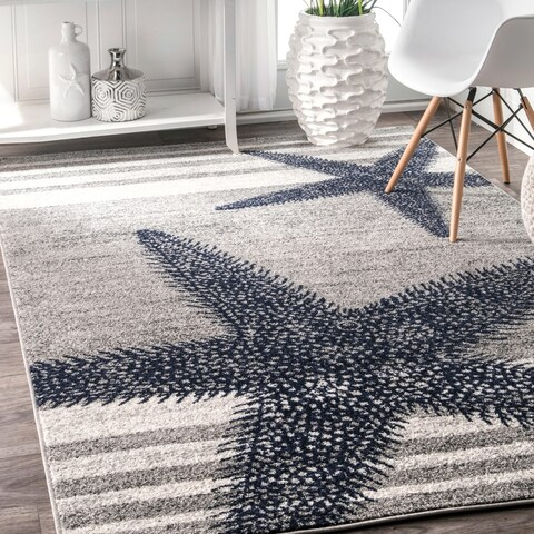 "nuLOOM Grey Made by Thomas Paul Contemporary Starfishes by the Stripes Accent Area Rug - 2' 3"" x 4'"