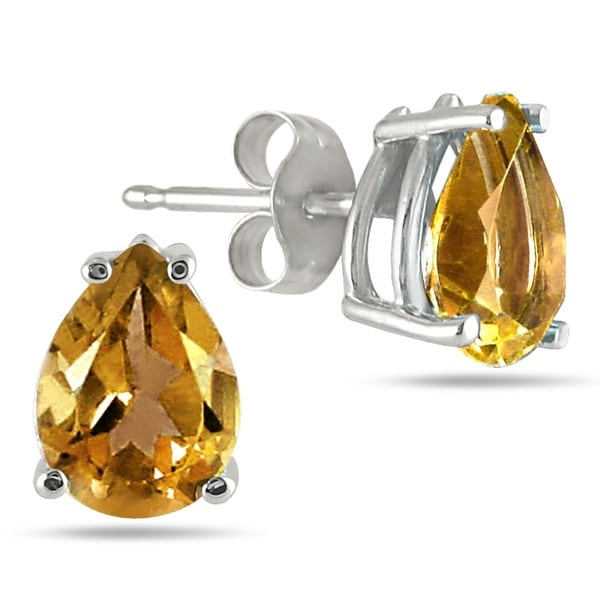All Natural Genuine 5x3 Mm Pear Shape Citrine Earrings Set In 14k White Gold