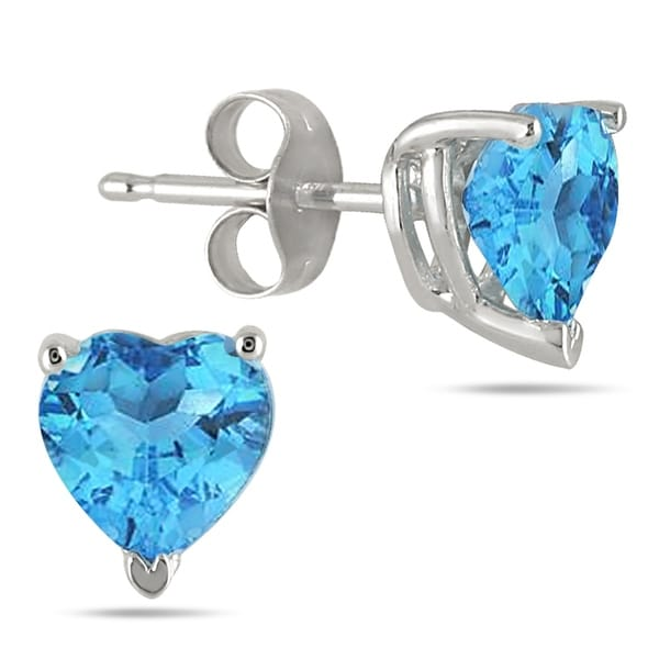 b486c1add Shop All-Natural Genuine 6 mm, Heart Shape Blue Topaz earrings set in 14k  White Gold - On Sale - Free Shipping Today - Overstock - 23018533