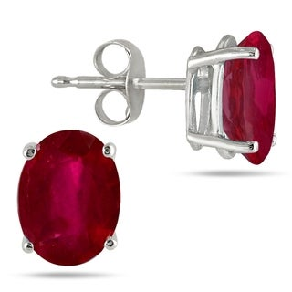 5x3MM All Natural Oval Ruby Stud Earrings in .925 Sterling Silver
