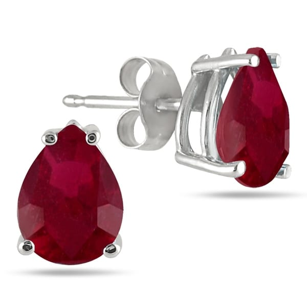 All Natural Genuine 7x5 Mm Pear Shape Ruby Earrings Set In 14k White Gold