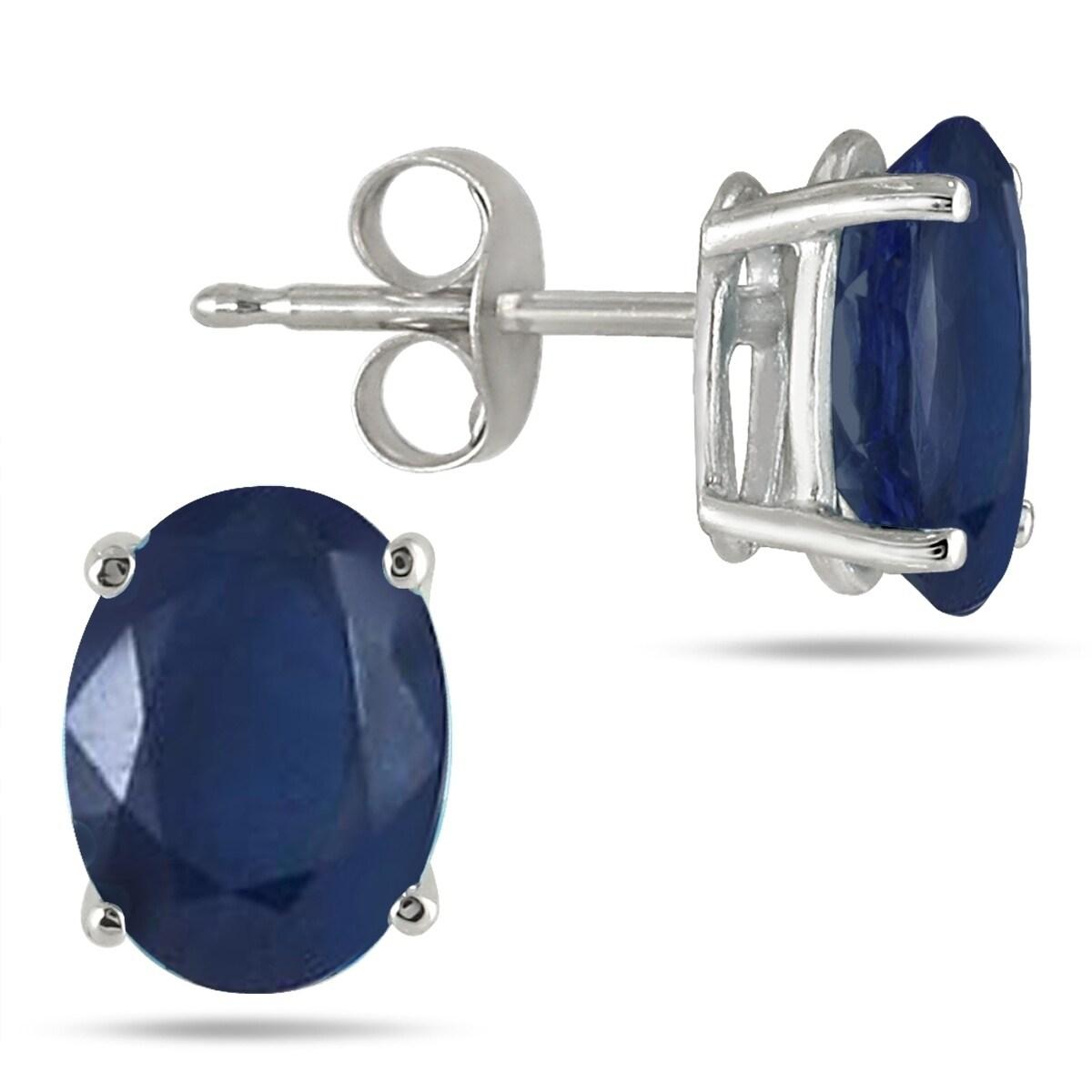 Szul 6x4MM All Natural Oval Sapphire Stud Earrings in .925 Sterling Silver