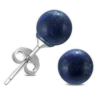 6mm Sapphire Ball Earring in .925 Sterling Silver