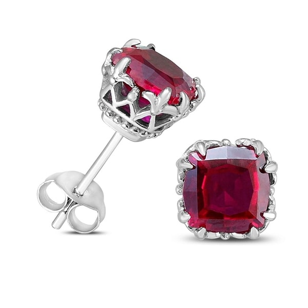 e28df90a5 Shop 7MM Cushion Cut Lab Ruby Earrings in .925 Sterling Silver - Free  Shipping On Orders Over $45 - Overstock - 23018744