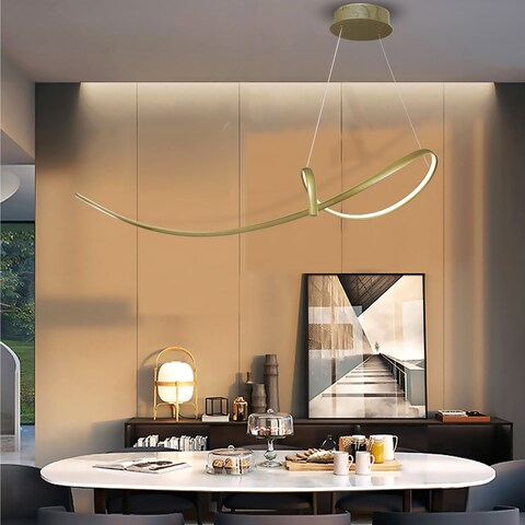 Milburn Gold 1-Light LED Pendant with Clear Shade (Adjustable Height)