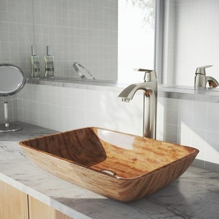 "VIGO 18"" Rectangular Amber Sunset Glass Vessel Bathroom Sink Set With Linus Vessel Faucet In Brushed Nickel"