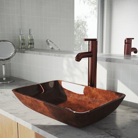 VIGO Russet Glass Vessel Bathroom Sink and Seville Vessel Faucet Set