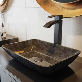 VIGO Rectangular Gray Onyx Glass Vessel Bathroom Sink Set With Duris Vessel Faucet In Matte Black