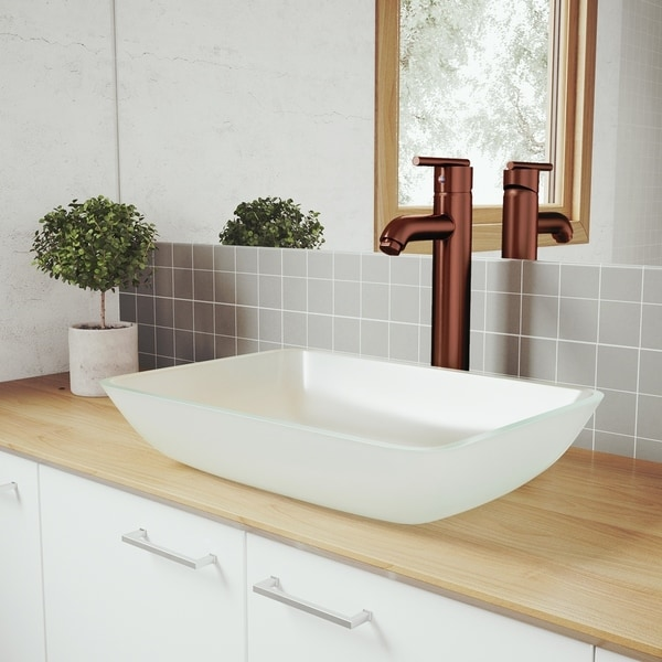 VIGO White Frost Glass Vessel Bathroom Sink Set with Seville Faucet