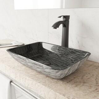 VIGO Titanium Glass Vessel Bathroom Sink Set with Otis Vessel Faucet