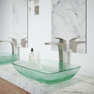 VIGO Rectangular Icicles Glass Vessel Bathroom Sink Set With Blackstonian Vessel Faucet In Brushed Nickel