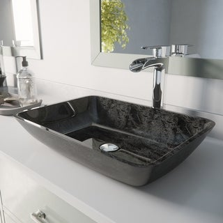 VIGO Rectangular Gray Onyx Glass Vessel Bathroom Sink Set With Niko Vessel Faucet In Chrome