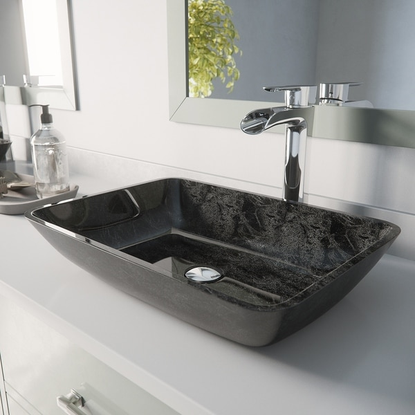 Shop Vigo Grey Onyx Glass Vessel Bathroom Sink Set With