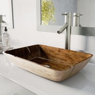 "VIGO 18"" Rectangular Amber Sunset Glass Vessel Bathroom Sink Set With Dior Vessel Faucet In Brushed Nickel"