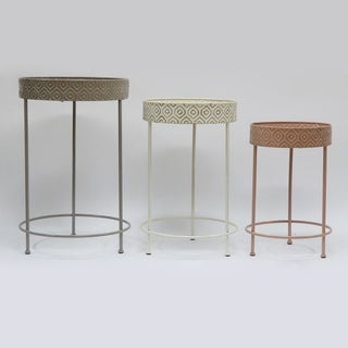 Set of 3 Wood and Metal Planter Table