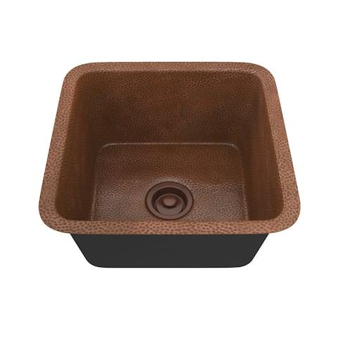 """ANZZI Kovie Drop-In 16"""" Single Bowl Kitchen Sink-Hammered Copper - hammered antique copper"""