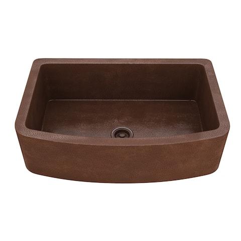 "ANZZI Terra Farmhouse 33"" Single Bowl Kitchen Sink-Hammered Copper - hammered antique copper"
