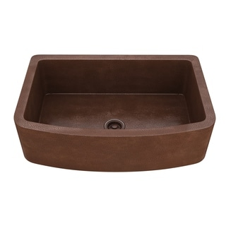 "ANZZI Terra Farmhouse 33"" Single Bowl Kitchen Sink-Hammered Copper - hammered antique copper"