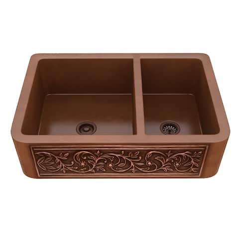"ANZZI Lamb Farmhouse 33"" 60/40 Kitchen Sink-Polished Copper - polished antique copper"