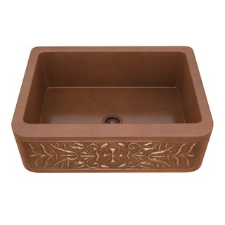 """ANZZI Orchard Farmhouse 30"""" Single Bowl Kitchen Sink-Polished Copper - polished antique copper"""