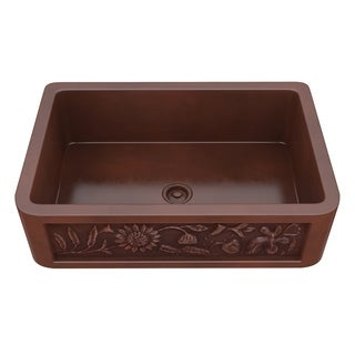 "ANZZI Saint Farmhouse 43"" Single Bowl Kitchen Sink-Polished Copper - polished antique copper"