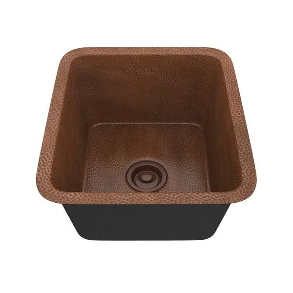 "ANZZI Havel Drop-In 17"" Single Bowl Kitchen Sink-Hammered Antique Copper - hammered antique copper"