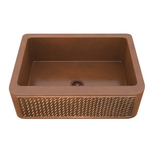 "ANZZI Indulgence Farmhouse 30"" Single Bowl Kitchen Sink-Polished Copper - polished antique copper"