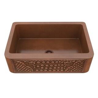 "ANZZI Kasha Farmhouse 33"" Single Bowl Kitchen Sink-Polished Copper - polished antique copper"