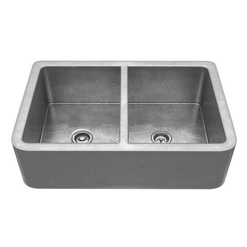 """ANZZI Port Farmhouse 33"""" 50/50 Kitchen Sink-Hammered Nickel - hammered nickel"""