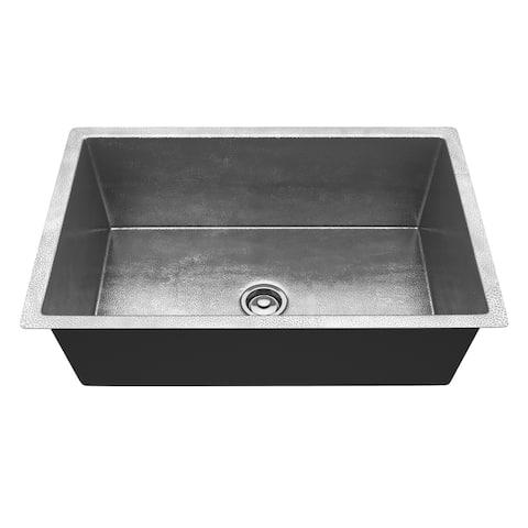 """ANZZI Sail Drop-In 30"""" Single Bowl Kitchen Sink-Hammered Nickel - hammered nickel"""