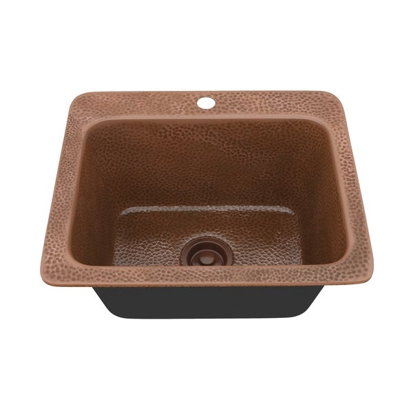 """ANZZI Galley Drop-In 18"""" Single Bowl Kitchen Sink-Hammered Copper - hammered antique copper"""