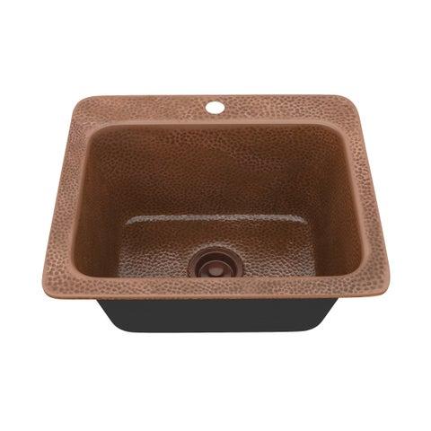"""ANZZI Galley Undermount 18"""" Single Bowl Kitchen Sink-Hammered Copper - hammered antique copper"""