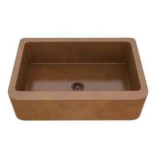 "ANZZI Venture Farmhouse 33"" Single Bowl Kitchen Sink-Polished Copper - polished antique copper"
