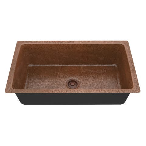 "ANZZI Kaish Drop-In 31"" Single Bowl Kitchen Sink-Hammered Copper - hammered antique copper"