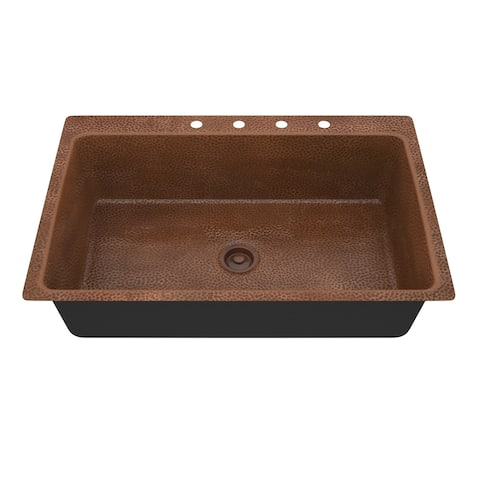 """ANZZI Cliff Drop-In 33"""" Single Bowl Kitchen Sink-Hammered Copper - hammered antique copper"""