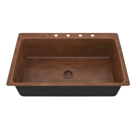 "ANZZI Cliff Drop-In 33"" Single Bowl Kitchen Sink-Hammered Copper - hammered antique copper"