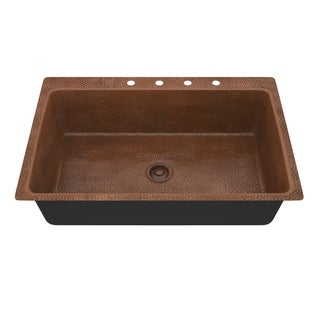 """ANZZI Cliff Undermount 33"""" Single Bowl Kitchen Sink-Hammered Copper - hammered antique copper"""