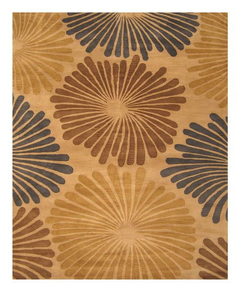 """Hand-tufted Wool Blue Transitional Timber Rug (8'9 x 11'9) - 8'9"""" x 11'9"""""""