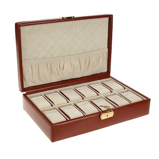 RocketBox Brown Leather 12-slot Watch Box