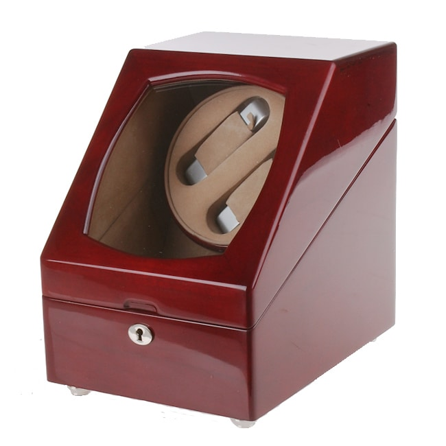 Rocketbox Cherry Wood Two-slot Watch Winder Storage Case - Thumbnail 0