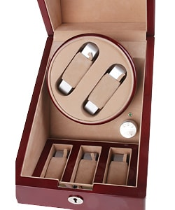 Rocketbox Cherry Wood Two-slot Watch Winder Storage Case - Thumbnail 1