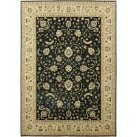 Oushak Black Wool Handmade Area Rug - 10'2 x 14'5