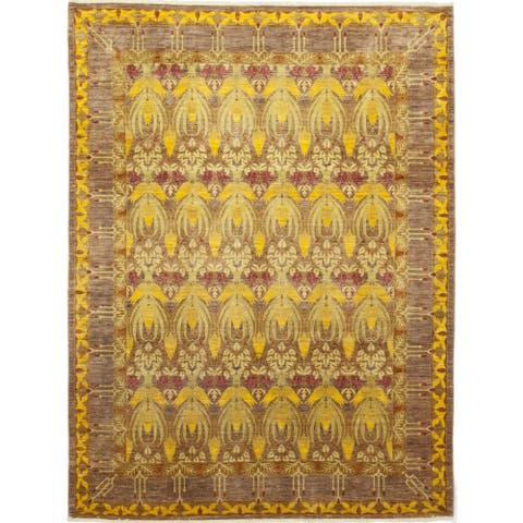 Contemporary Patterned & Floral One-of-a-Kind Hand-Knotted Area Rug - 9 x 12