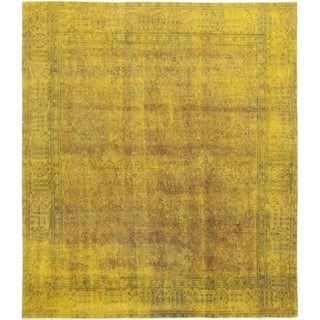 "Vintage Overdyed Yellow Area Rug - 9' 4"" x 10' 7"""
