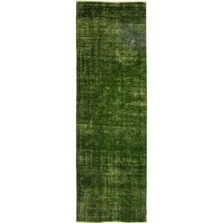 "Vintage Overdyed Green Runner Rug - 3' 8"" x 11' 1"""
