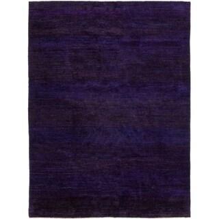 Sari Silk Ikat Purple Handmade Area Rug - 9'1 x 12'