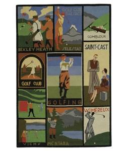 Safavieh Handmade Vintage Golf Poster Wool Rug (4' x 6')